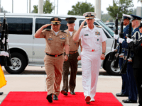 US Navy Admiral Craig S. Faller (R), Commander, US. Southern Command, greets Commanding General of the Colombian Military Forces, Army Major General Luis Navarro Jimenez (L) at Southern Command in Miami, Florida on February 20, 2019. - The commanders will hold meetings to discuss the crisis in Venezuela. (Photo by …