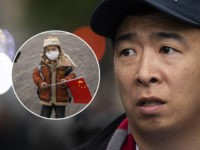 (INSET: Chinese child with face mask for air pollution) NEW YORK, NY - MAY 14: Democratic presidential candidate Andrew Yang waits to take the stage during a rally in Washington Square Park, May 14, 2019 in New York City. One of Yangs major campaign promises is a universal basic income …