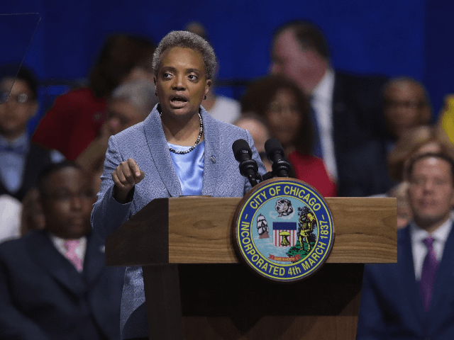 Lori Lightfoot addresses guests after being sworn in as Mayor of Chicago during a ceremony at the Wintrust Arena on May 20, 2019 in Chicago, Illinois. Lightfoot become the first black female and openly gay Mayor in the city's history. (Photo by Scott Olson/Getty Images)