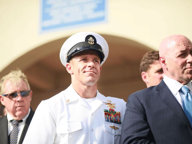 Navy Special Operations Chief Edward Gallagher celebrates after being acquitted of premeditated murder at Naval Base San Diego July 2, 2019 in San Diego, California. Gallagher was found not guilty in the killing of a wounded Islamic State captive in Iraq in 2017. He was cleared of all charges but …