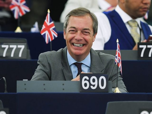 Former UK Independence Party (UKIP) leader, Brexit campaigner and member of the European Parliament Nigel Farage smiles as he attends a debate on the conclusions of the European Council meeting of June 20-21 during a plenary session at the European Parliament on July 04, 2019 in Strasbourg, eastern France. (Photo …