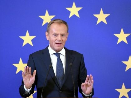 European Council President Donald Tusk gastures as he speaks during a press conference on the outcome of the Ukraine-EU summit in Kiev on July 8, 2019. (Photo by Sergei SUPINSKY / AFP) (Photo credit should read SERGEI SUPINSKY/AFP/Getty Images)