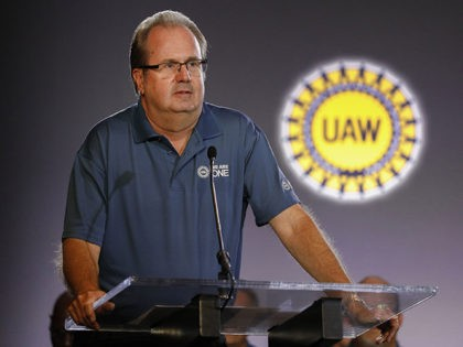 DETROIT, MI - JULY 16: United Auto Workers President Gary Jones speaks at the opening of open the 2019 GM-UAW contract talks where the traditional ceremonial handshake takes place on July 16, 2019 in Detroit, Michigan. With its increasing investment in electric vehicles, General Motors is faced with the challenge …