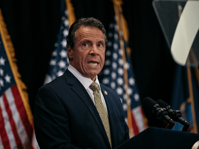 New York Governor Andrew Cuomo delivers a speech on the importance of renewable energy and signs the Climate Leadership and Community Protection Act at Fordham Law School in the borough of Manhattan on July 18, 2019 in New York City. Framed by Governor Cuomo as a statewide Green New Deal, …