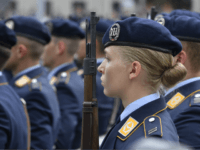 A new Air Force recruit stands to attention during a swearing-in ceremony of German Bundeswehr soldiers at the German Defence Ministry in Berlin, on July 20, 2019. (Photo by John MACDOUGALL / AFP) (Photo credit should read JOHN MACDOUGALL/AFP/Getty Images)