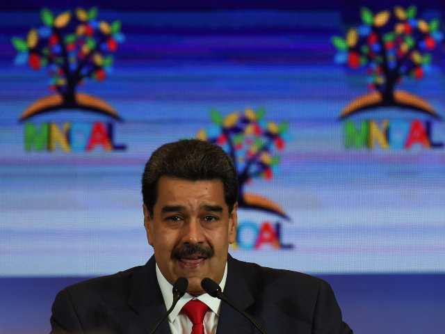 Venezuela's President Nicolas Maduro speaks during the plenary session of the Ministerial Meeting of the Coordinating Bureau of the Non-Aligned Movement (NAM) on July 20, 2019 in Caracas, Venezuela. (Photo by YURI CORTEZ / AFP) (Photo credit should read YURI CORTEZ/AFP/Getty Images)