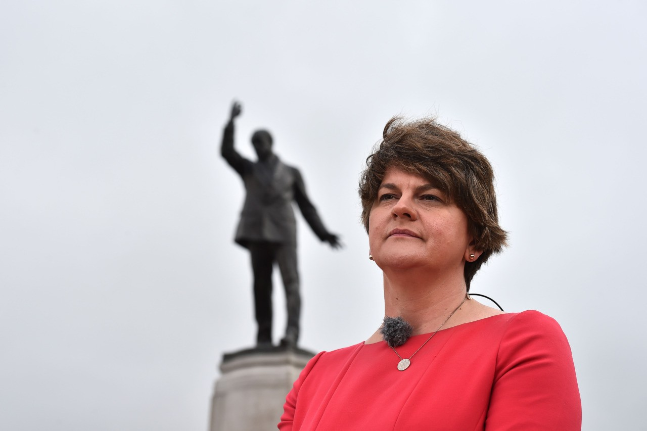 BELFAST, NORTHERN IRELAND - JULY 31: DUP leader Arlene Foster conducts a television interview prior to the arrival of Prime Minister Boris Johnson at Stormont on July 31, 2019 in Belfast, Northern Ireland. The Prime Minister is on his first official visit to Northern Ireland to discuss Brexit, and the restoration of the Northern Ireland Assembly, with the main political parties. (Photo by Charles McQuillan/Getty Images)