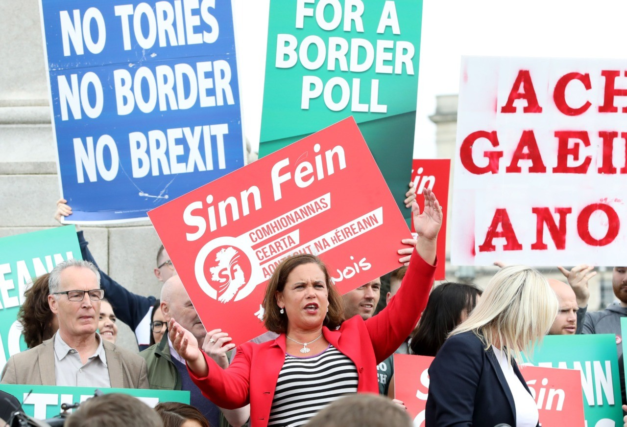 Sinn Fein President Mary Lou McDonald (C) speaks to the media after meeting Britain's Prime Minister Boris Johnson outside Stormont House, Belfast on July 31, 2019. (Photo by PAUL FAITH / AFP) (Photo credit should read PAUL FAITH/AFP/Getty Images)