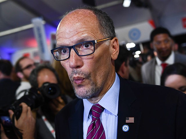 Chair of the Democratic National Committee, Tom Perez, makes his way through the spin room after the second round of the second Democratic primary debate of the 2020 presidential campaign season hosted by CNN at the Fox Theatre in Detroit, Michigan on July 31, 2019. (Photo by Brendan Smialowski / …
