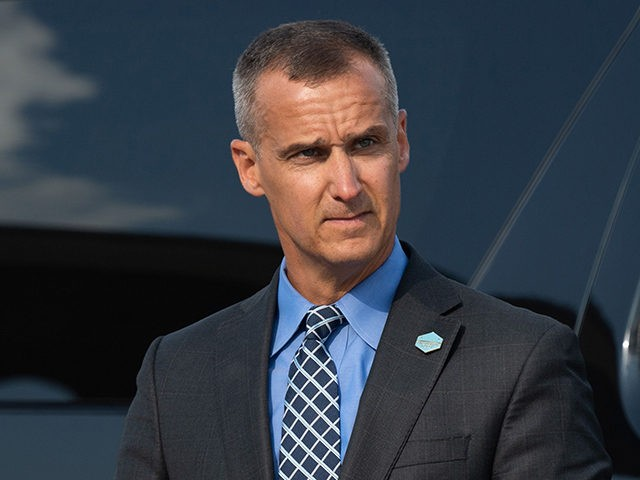 Corey Lewandowski, former campaign manager for US President Donald Trump, watches as Trump disembarks from Air Force One upon arrival at Cincinnati/Northern Kentucky International Airport in Hebron, Kentucky, August 1, 2019, as he travels to Cincinnati, Ohio, to hold a campaign rally. (Photo by SAUL LOEB / AFP) (Photo credit …