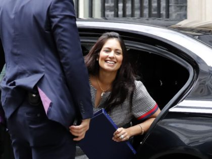Britain's Home Secretary Priti Patel arrives at number 10 Downing Street in central London on August 2, 2019. (Photo by Tolga AKMEN / AFP) (Photo credit should read TOLGA AKMEN/AFP/Getty Images)