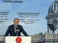 Turkish President Recep Tayyip Erdogan delivers a speech during the first stone ceremony of Turkey's first church in the modern history of the modern Republic in Istanbul's Yesilkoy district, on August 3, 2019. - President Recep Tayyip Erdogan on August 3 laid a stone for Turkey's first new church in …