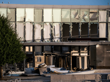 View of the damage at the building of the Danish Tax Authority at Oesterbro in Copenhagen, Denmark, on August 7, 2019, after a powerful explosion near Nordhavn Station, late on August 6. (Photo by Olafur STEINAR GESTSSON / Ritzau Scanpix / AFP) / Denmark OUT (Photo credit should read OLAFUR …