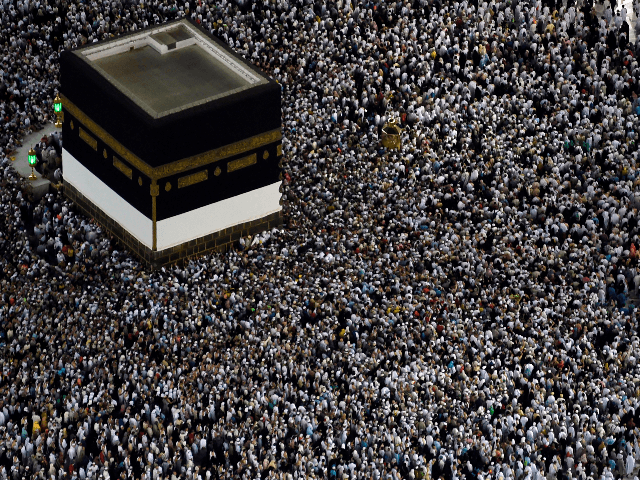 Mulism pilgrims gather around the Kaaba, Islam's holiest shrine, at the Grand Mosque in Saudi Arabia's holy city of Mecca on August 8, 2019, prior to the start of the annual Hajj pilgrimage in the holy city. - Muslims from across the world gather in Mecca in Saudi Arabia for …