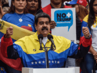 Nicolas Maduro President of Venezuela gestures during a speech in an anti-trump demostration on August 10, 2019 in Caracas, Venezuela. President Nicolas Maduro called a demonstration against Donal Trump after US president imposed an economic embargo to Venezuela barred transactions with its authorities. This also generated the freeze on the …