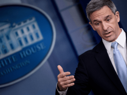 Acting Director of the US Citizenship and Immigration Services Ken Cuccinelli speaks during a briefing at the White House August 12, 2019, in Washington, DC. - The administration of US President Donald Trump announced Monday new rules that aim to deny permanent residency and citizenship benefits to migrants who receive …