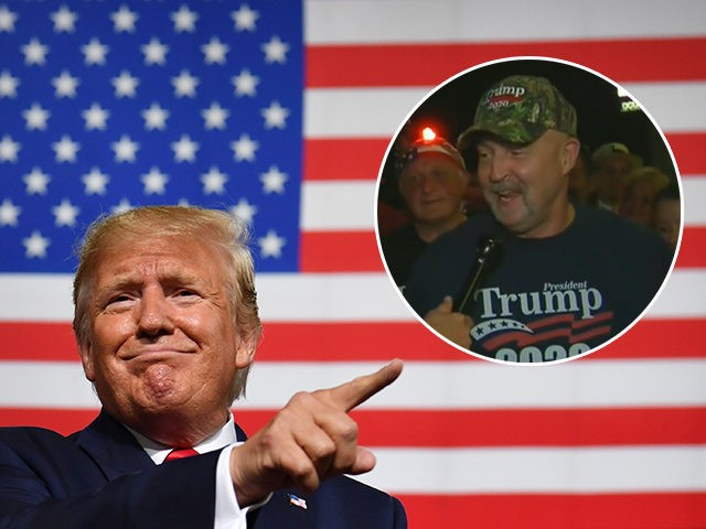 """(INSET: Trump supporter Frank Dawson) US President Donald Trump speaks during a """"Keep America Great"""" campaign rally at the SNHU Arena in Manchester, New Hampshire, on August 15, 2019. (Photo by Nicholas Kamm / AFP) / ALTERNATIVE CROP (Photo credit should read NICHOLAS KAMM/AFP/Getty Images)"""