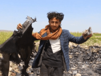 This AFPTV screen grab from a video made on August 21, 2019, shows people searching reportedly the wreckage of a US drone following an alledged attack by pro-Iranian Huthi forces in Yemen's southwestern Dhamar province. - The US military said on August 21 that it is investigating reports that one …