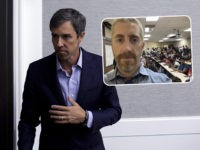 (INSET: Breitbart Senior Editor-at-Large Joel Pollak) ALTOONA, IA - AUGUST 21: Democratic presidential candidate and former Rep. for Texas Beto O'Rourke waits to exit after speaking at the Iowa Federation Labor Convention on August 21, 2019 in Altoona, Iowa. Candidates had 10 minutes each to address union members during the …