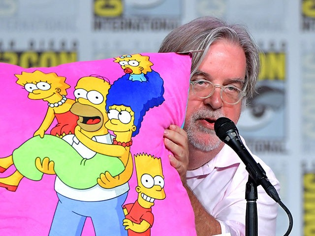"SAN DIEGO, CALIFORNIA - JULY 20: Matt Groening speaks at ""The Simpsons"" Panel during 2019 Comic-Con International at San Diego Convention Center on July 20, 2019 in San Diego, California. (Photo by Amy Sussman/Getty Images)"