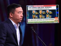 "(INSET: CNN graphic omitting Andrew Yang from the ""top"" results of a Quinnipiac poll... but including Beto O'Rourke, who had lower support) 2020 US Democratic Presidential hopeful Andrew US entrepreneur Andrew Yang speaks on-stage during the Democratic National Committee's summer meeting in San Francisco, California on August 23, 2019. (Photo …"