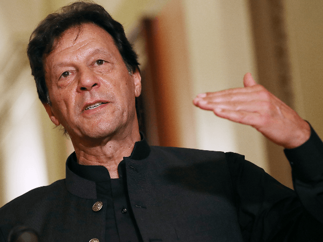 Pakistan Prime Minister Imran Khan makes a brief statement to reporters before a meeting with U.S. House Speaker Nancy Pelosi (D-CA) at the U.S. Capitol July 23, 2019 in Washington, DC. In remarks before the meeting, Khan said that U.S.-Pakistan relations need to be reset. (Photo by Chip Somodevilla/Getty Images)