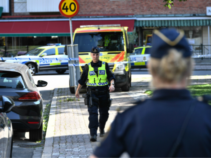 Police cordon off the scene where a woman was shot dead in the Ribersborg district of Malmo, Sweden on August 26, 2019. (Photo by Johan NILSSON / TT News Agency / AFP) / Sweden OUT (Photo credit should read JOHAN NILSSON/AFP/Getty Images)