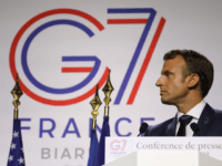 France's President Emmanuel Macron looks on during a joint-press conference with US President Donald Trump in Biarritz, south-west France on August 26, 2019, on the third day of the annual G7 Summit attended by the leaders of the world's seven richest democracies, Britain, Canada, France, Germany, Italy, Japan and the …