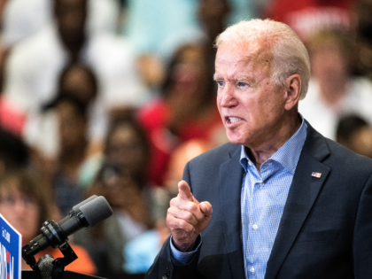Democratic presidential candidate and former US Vice President Joe Biden addresses a crowd at a town hall event at Clinton College on August 29, 2019 in Rock Hill, South Carolina. Biden has spent Wednesday and Thursday campaigning in the early primary state. (Photo by Sean Rayford/Getty Images)