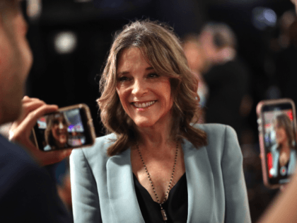 Democratic presidential candidate Marianne Williamson speaks to the media in the spin room of the Democratic Presidential Debate at the Fox Theatre July 31, 2019 in Detroit, Michigan. 20 Democratic presidential candidates were split into two groups of 10 to take part in the debate sponsored by CNN held over …