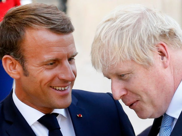 PARIS, FRANCE - AUGUST 22: French President Emmanuel Macron accompanies British Prime Minister Boris Johnson after their meeting at the Elysee Presidential Palace on August 22, 2019 in Paris, France. Boris Johnson is on an official visit to Paris prior to attending the 45th G7 summit in Biarritz. (Photo by …