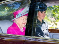 CRATHIE, ABERDEENSHIRE - AUGUST 25: Queen Elizabeth II and Catherine, Duchess of Cambridge are driven to Crathie Kirk Church before the service on August 25, 2019 in Crathie, Aberdeenshire. Queen Victoria began worshiping at the church in 1848 and every British monarch since has worshiped there while staying at nearby …