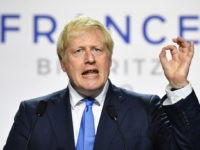 BIARRITZ, FRANCE - AUGUST 24: UK Prime Minister Boris Johnson during a press conference in the Bellevue hotel conference room at the conclusion of the G7 summit on August 24, 2019 in Biarritz, France. The French southwestern seaside resort of Biarritz is hosting the 45th G7 summit from August 24 …