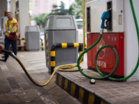 This photo taken on August 27, 2014 shows a petrol pump at a PetroChina petrol station in Shanghai. AFP PHOTO / JOHANNES EISELE (Photo credit should read JOHANNES EISELE/AFP/Getty Images)