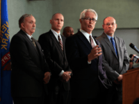 US Attorney for the District of Kansas Barry Grissom addresses the media alongside Overland Park Police Chief John Douglass, FBI Special Agent in Charge Michael Kaste, and Johnson County District Attorney Steve Howe during a press conference after a gunman killed three people at Jewish centers in Kansas on April …