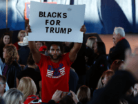 "A man hold a ""Blacks for Trump"" sign as he waits to see US Republican presidential nominee Donald Trump address supporters at Freedom Hill Amphitheater on November 6, 2016 in in Sterling Heights, Michigan. Donald Trump barnstorms five states Sunday while Hillary Clinton implores her most fervent supporters to get …"