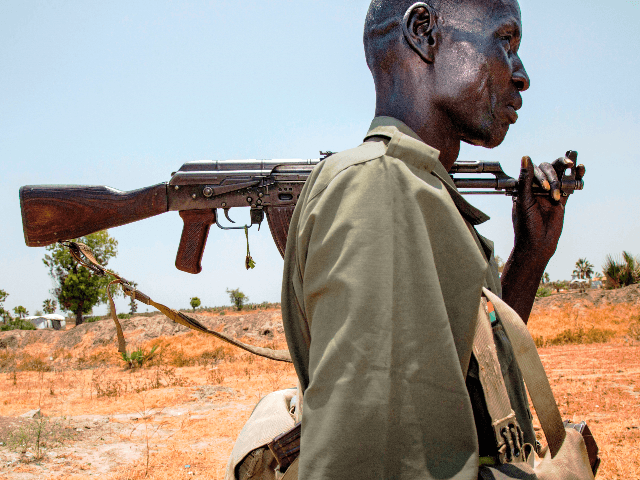 A member of the opposition troops walks near his base in Thonyor, in Leer county, on April 11, 2017. At least 16 civilians were killed in fighting on April 10, 2017, between government troops and rebels in South Sudan's second-largest city Wau, the United Nations peacekeeping mission (UNMISS) said in …