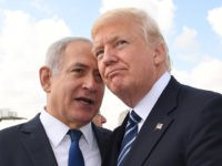 JERUSALEM, ISRAEL - MAY 23: (ISRAEL OUT) In this handout photo provided by the Israel Government Press Office (GPO), Israeli Prime Minister Benjamin Netanyahu speaks with US President Donald Trump prior to the President's departure from Ben Gurion International Airport in Tel Aviv on May 23, 2017 in Jerusalem, Israel. …