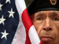 Frank Squirrel, U.S. Army Korean War veteran and member of the Cherokee Nation Color Guard, looks on before the start of the annual Veterans Day parade November 11, 2009 in New York City. The nation's largest Veterans Day parade featuring 20,000 participants in New York is celebrating its 90th anniversary. …