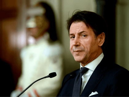Italys Prime Minister Giuseppe Conte addresses the media following a meeting with the Italian president, after he was given a mandate to form a new government, on August 29, 2019 at the Quirinal presidential palace in Rome. - The anti-establishment Five Star Movement (M5S) and the centre-left Democratic Party (PD), …
