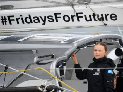 "Swedish climate activist Greta Thunberg, 16, arrives in the US after a 15-day journey crossing the Atlantic in the Malizia II, a zero-carbon yacht, on August 28, 2019 in New York. - ""Land!! The lights of Long Island and New York City ahead,"" she tweeted early Wednesday. She later wrote …"