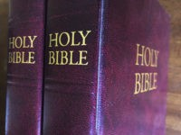 In this July 5, 2019 Bibles are displayed in Miami. Religious publishers say President Trump's most recently proposed tariffs on Chinese imports could result in a Bible shortage. That's because millions of Bibles, some estimates put it at 150 million or more, are now printed in China each year. Critics …
