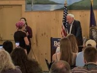 Bernie Sanders and Jewish leftist at town hall (Joel Pollak / Breitbart News)