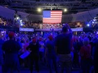Trump speech SNHU Arena New Hampshire (Joel Pollak / Breitbart News)