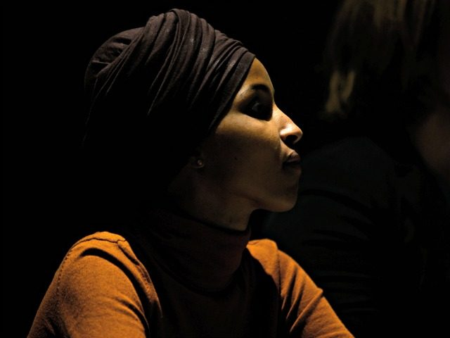 MINNEAPOLIS, MN - AUGUST 27: Rep. Ilhan Omar (D-MN) listens to to a question from a moderator during a community forum on immigration at the Colin Powell Center on August 27, 2019 in Minneapolis, Minnesota. Omar joined a panel to discuss immigration policy. (Photo by Stephen Maturen/Getty Images)