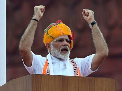 India's Prime Minister Narendra Modi delivers a speech to the nation during a ceremony to celebrate country's 73rd Independence Day, which marks the of the end of British colonial rule, at the Red Fort in New Delhi on August 15, 2019. (Photo by Prakash SINGH / AFP) (Photo credit should …