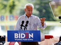 Democratic presidential candidate former Vice President Joe Biden speaks during a community event, Tuesday, Aug. 20, 2019, in Prole, Iowa. (AP Photo/Charlie Neibergall)