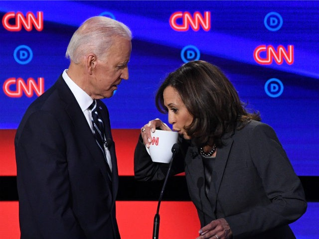 Democratic presidential hopefuls Former Vice President Joe Biden (L) and US Senator from California Kamala Harris chat during a break in the second round of the second Democratic primary debate of the 2020 presidential campaign season hosted by CNN at the Fox Theatre in Detroit, Michigan on July 31, 2019. …