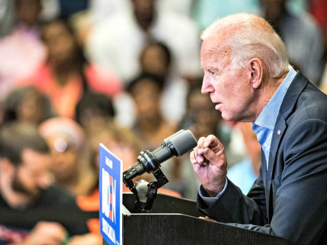 ROCK HILL, SC - AUGUST 29: Democratic presidential candidate and former US Vice President Joe Biden addresses a crowd at a town hall event at Clinton College on August 29, 2019 in Rock Hill, South Carolina. Biden has spent Wednesday and Thursday campaigning in the early primary state. (Photo by …