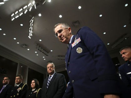 WASHINGTON, DC - JULY 30: U.S. Air Force Gen. John E. Hyten arrives for testimony before the Senate Armed Services Committee on his appointment as the next Vice Chairman Of The Joint Chiefs Of Staff July 30, 2019 in Washington, DC. During the hearing, Hyten was questioned on allegations of …